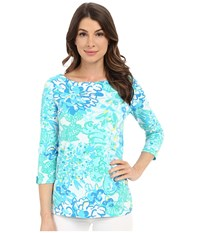 Lilly Pulitzer Juline Top Resort White In A Pinch Women's Clothing Blue