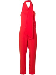 Lanvin Scarf Collar Jumpsuit Red