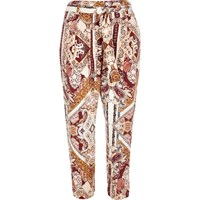 River Island Womens Pink Paisley Print Tapered Trousers