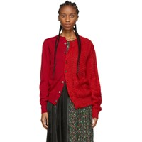 Junya Watanabe Red Wool And Mohair Cardigan