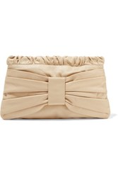 Red Valentino Redvalentino Bow Embellished Leather Clutch Beige