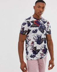 Ted Baker T Shirt With Large Floral Print In Grey