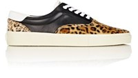 Saint Laurent Men's Leopard Print Leather Sneakers Black Brown Black Brown