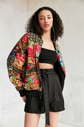 Silence And Noise Eve Patch Printed Bomber Jacket Red Multi