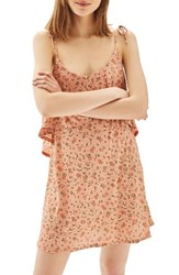 Topshop Women's Ditsy Floral Tie Sundress Peach Multi