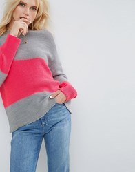 Asos Jumper With Colour Block Grey
