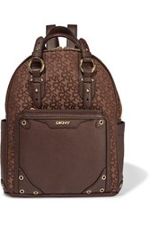 Dkny Textured Leather And Jacquard Backpack Dark Brown