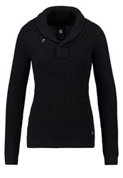 G Star Gstar Tiffly Shawl Collar Jumper Dark Black Mazarine Blue Dark Blue