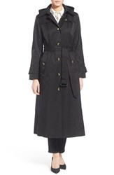 London Fog Women's Fog London Long Trench Raincoat With Hood Black