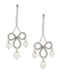 Bh Multi Color Corp. 6.5Mm 8.5Mm White Round Fresh Water Drop Earrings Silver