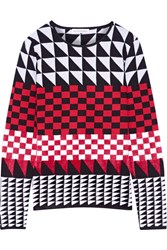 Altuzarra Shiner Paneled Jacquard Knit Sweater Crimson