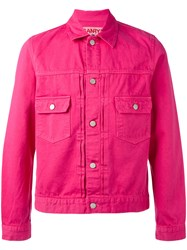Ganryu Comme Des Garcons Flap Pockets Denim Jacket Men Cotton S Pink Purple
