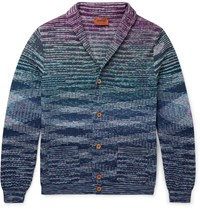 Missoni Slim Fit Cotton And Flax Blend Cardigan Navy