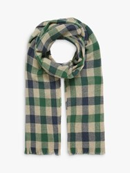 Brora Cashmere Plaid Block Stole Scarf Ink Leaf