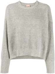 Nude Ribbed Knit Pullover Grey