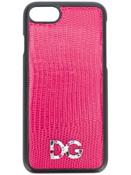 Dolce And Gabbana Crystal Logo Iphone 7 Case Calf Leather Metal Other Plastic Pink Purple