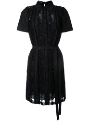 Rochas Embroidered Shirt Dress Black