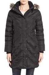 Petite Women's London Fog Down And Feather Fill Coat With Faux Fur Trim Black