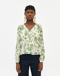 Farrow Zoe Pleated Top In Green Floral Size Small