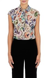 Giorgio Armani Women's Watercolor Flower Print Silk Blouse White