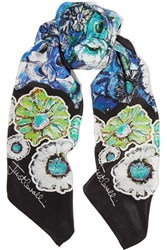 Just Cavalli Printed Silk Crepe De Chine Scarf Black