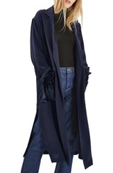Topshop Women's Velvet Pocket Duster Coat Navy Blue