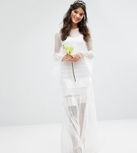 Body Frock Bodyfrock Bridal Pleated Maxi Dress With Fluted Sleeves White