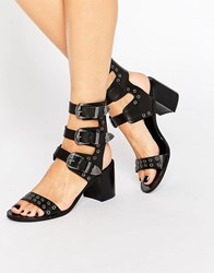 Mango Triple Buckle Western Sandal Black