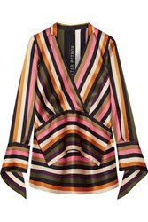 Petar Petrov Asymmetric Striped Silk Satin Blouse Black