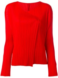 Issey Miyake Pleats Please By Pleated Open Jacket Red
