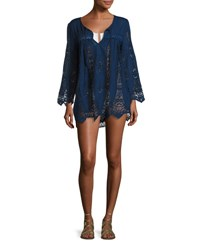 Nanette Lepore Carnaby Crocheted Tunic Coverup Indigo