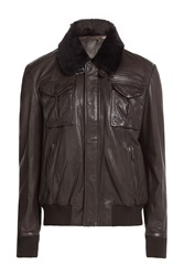 Baldessarini Leather Jacket With Shearling Collar Brown