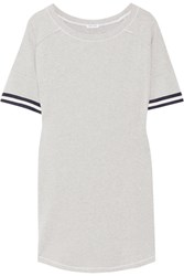 Splendid Varsity Active Striped Stretch Cotton And Modal Blend Jersey Mini Dress Gray