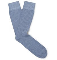 Corgi Ribbed Cotton Blend Socks Blue