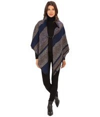 Echo Meadow Stripe Poncho Shawl Ultramarine Women's Sweater Blue