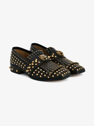 Gucci Stud Embellished Fringe Leather Loafers Black Stone