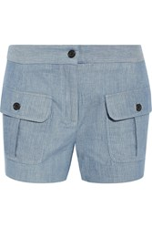 Paul And Joe Striped Cotton And Linen Blend Shorts Light Blue