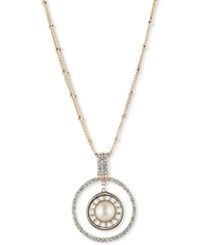 Carolee Gold Tone Imitation Pearl And Pave Circle Pendant Necklace
