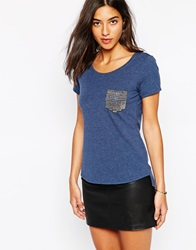 Karen Millen Oversized Studded Pocket T Shirt Denim