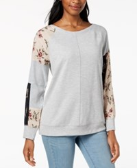 Styleandco. Style Co Patchwork Sleeve Sweatshirt Created For Macy's Heather Grey