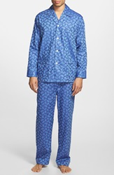 Derek Rose Paisley Cotton Twill Pajama Set Paris Blue