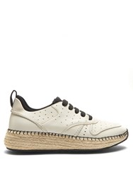 Tod's Leather And Espadrille Sole Trainers White