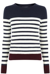 Oasis Stripe Crew With Buttons Red Multi