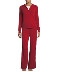 Neiman Marcus Plus Size Cashmere Hoodie And Pant Lounge Set Red
