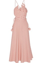 Rosie Assoulin Tutti Frutti Appliqued Striped Linen And Cotton Blend Maxi Dress Red