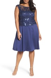 Adrianna Papell Plus Size Women's Lace Overlay Cocktail Dress