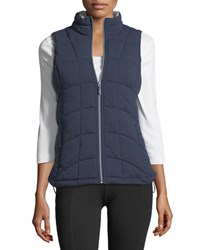 Marc New York Front Zip Knit Vest W Striped Lining Navy