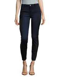 Design Lab Lord And Taylor Faux Leather Trimmed Jeans Dark Wash