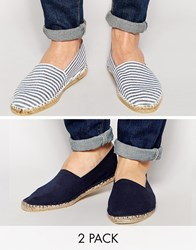Asos Canvas Espadrilles 2 Pack Save 20 Navy