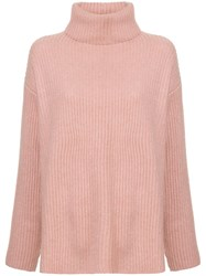 Le Kasha Ribbed Oversized Polo Neck Jumper Pink And Purple
